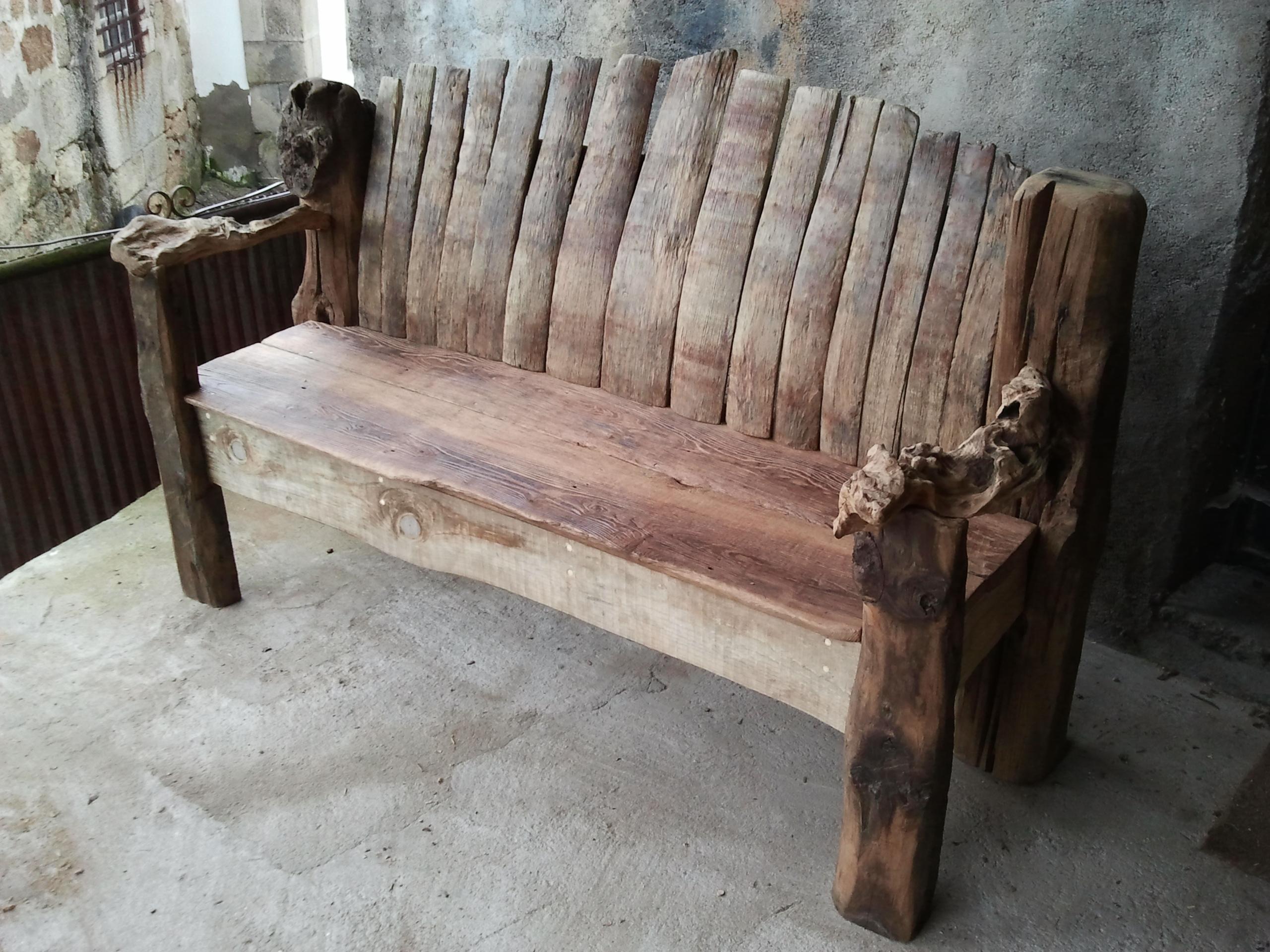 Reclaimed Wine Barrel Garden Bench, Mixed Timber