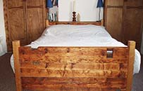 reclaimed timber bed, pitch pine floor joist